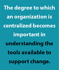 Degree of centralization is important to managing technology change