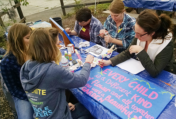 Making signs at the Wilshire school