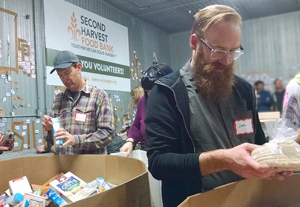 Joel and Keith sorting at Second Harvest